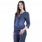 Комплект 17145 синьо сако 3/4 ръкав и сини дънки 17161 от тенсел деним с ликра  на топ цена